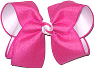 MEGA Shocking Pink Canvas over White Double Layer Overlay Bow