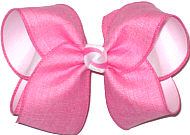 Large Pink Canvas over White Double Layer Overlay Bow