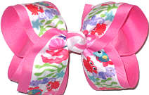 Large Under the Sea Print over Hot Pink Double Layer Overlay Bow
