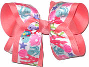 Large Under the Sea Print over Coral Double Layer Overlay Bow