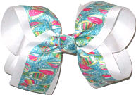 Large Lilly Pulitzer Sailboats over White Double Layer Overlay Bow