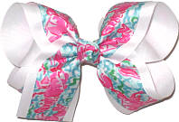 Large Lilly Pulitzer Lobsters over White Double Layer Overlay Bow