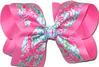 Large Lilly Pulitzer Lobsters over Hot Pink Double Layer Overlay Bow