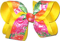 Large Lilly Pulitzer Oranges and Orange Blossoms over Maize Double Layer Overlay Bow