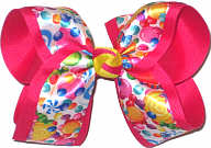 Large Candy Crush Satin Print over Shocking Pink Double Layer Overlay Bow