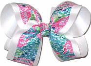 Large Lilly Pulitzer Coral Reef Print Double Layer Overlay Bow