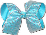 Large Silver Glitter Stripe Chiffon over Navajo Turquoise Double Layer Overlay Bow