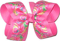 Large Lilly Pultizer Flamingos over Hot Pink Double Layer Overlay Bow