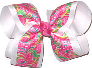 Large Lilly Pultizer Flamingos over White Double Layer Overlay Bow
