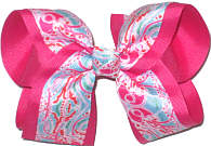 Large Lilly Pulitzer Jellyfish over Shocking Pink Double Layer Overlay Bow
