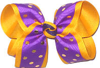 Large Purple with Gold Metallic Dots over Yellow Gold Double Layer Overlay Bow