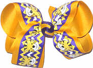 Large Purple and Yellow Gold Tiger Cub over Yellow Gold Double Layer Overlay Bow