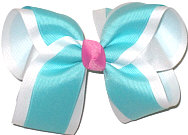 Large Navajo Turquoise and White with Pixie Pink Knot Double Layer Overlay Bow