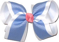 Large Bluebird and White Double Layer Overlay Bow