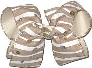 Large Khaki and Lt Ivory Stripes with Glitter Dots over Lt Ivory Double Layer Overlay Bow