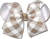 Large Khaki and Antique WHite Check over White Double Layer Overlay Bow