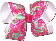 Large Lilly Pulitzer Flamingos over White Double Layer Overlay Bow
