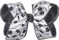 Large Black and White Soccer Balls over Black Double Layer Overlay Bow