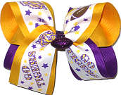 Large Purple and Gold Tiger over Purple Double Layer Overlay Bow