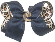 Medium Navy over Cheeta Print Double Layer Overlay Bow