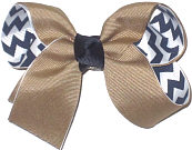 Medium Khaki over Navy and White Chevron Stripes Double Layer Overlay Bow