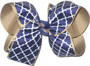 Large Navy and White Quatrafoil over Khaki Double Layer Overlay Bow
