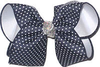 Large Navy with White Pin Dots over White with Silver Glitter Knot Double Layer Overlay Bow