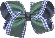 Large Three Layer Forest over Light Navy and White Check over Navy Double Layer Overlay Bow