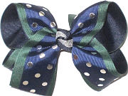 Large Three Layer Navy with Metallic Silver Dots over Forest over Navy Double Layer Overlay Bow