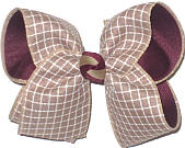 Large Khaki and White Check over Burgundy Double Layer Overlay Bow