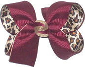 Medium Burgundy over Cheeta Print Double Layer Overlay Bow