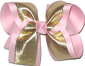 Large Gold Lame Metallic over Light Pink Double Layer Overlay Bow