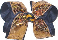 Large Metallic Gold Sequins over Black Double Layer Overlay Bow