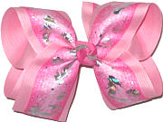 Large Silver Mermaids on Hot Pink over Pink Double Layer Overlay Bow