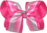 Large Silver Glitter Chiffon over Shocking Pink Double Layer Overlay Bow