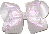 MEGA Iridescent Sharkskin Pattern over White Double Layer Overlay Bow
