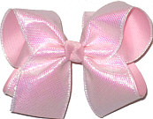 MEGA Iridescent Sharkskin Pattern over Light Pink Double Layer Overlay Bow