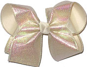 Large Iridescent Minidots over Light Ivory Double Layer Overlay Bow