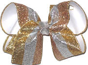 Large Gold Silver and Copper Glitter Stripes over White Double Layer Overlay Bow