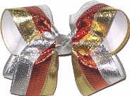 Large Silver Copper and Gold Metallic Stripes over White Double Layer Overlay Bow