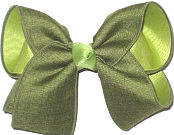 Large Moss Canvas over Lemon Grass Double Layer Overlay Bow