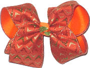 Large Orange Coanvas with Orange Gold and Green Arrowheads over Orange Double Layer Overlay Bow