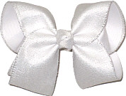 Large White Shimmer Glitter over White Double Layer Overlay Bow