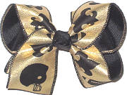 MEGA Saints Fleur de Lis with Football Helmet on Gold over Black Double Layer Overlay Bow