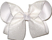 Large White Shimmer Glitter with Silver Edging over White Double Layer Overlay Bow