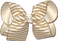 Large Light Ivory Canvas with Gold Glitter Stripes over Light Ivory Double Layer Overlay Bow