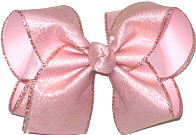 Large Pink Shimmer Glitter over Light Pink Double Layer Overlay Bow