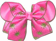 Large Hot Pink with Green Glitter Starbursts over Hot Pink Double Layer Overlay Bow