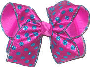 Large Turquoise Glitter Dot Chiffon over Wild Berry Double Layer Overlay Bow