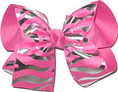 Large Metallic Silver Tiger Stripes on Hot Pink over Hot Pink Double Layer Overlay Bow